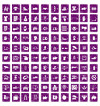 100 hand icons set grunge purple vector image vector image