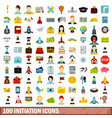 100 initiation icons set flat style vector image vector image