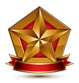 3d golden heraldic blazon with red filling and vector image vector image