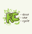 3r concept reduce reuse recycle lettering vector image vector image