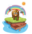 A brown bear and the wooden boat vector image vector image