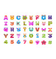 alphabets and numbers monster flat icons vector image