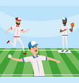 baseball players competition game in the field vector image vector image