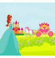 Beautiful princess on landscape vector image vector image