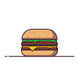 big burger in line style vector image