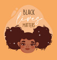 black lives matter happy face girl curly hair vector image vector image