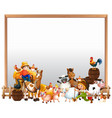 blank board with animal farm set isolated vector image vector image