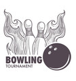 bowling league poster with ball and skittle vector image vector image