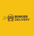 burger delivery fast hamburger car vector image vector image