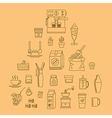 cafe equipment icons outline design collection vector image vector image