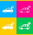 car sign with tag four styles of icon on four vector image vector image