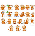 cartoon happy monkey collection with different act vector image vector image