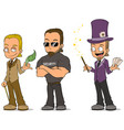 cartoon magician and security characters set vector image vector image