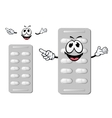 Cartoon smiling silver blister of pills vector image