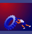 cartoon sportsman pushing tyre and training all vector image vector image