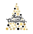 Christmas tree isolated on white with lettering vector image vector image
