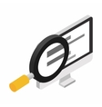 Computer monitor and magnifying glass vector image