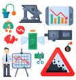 crisis symbols concept problem economy banking vector image