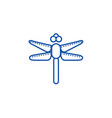 dragonfly line icon concept dragonfly flat vector image