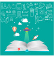 education open book knowledge icons background vec vector image vector image