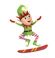 elf snowboarder sliding down hill merry christmas vector image vector image