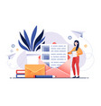 email service concept with opened letter vector image vector image