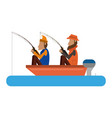 fishermen in boat vector image vector image
