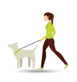 girl walking a white dog vector image vector image