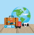 global travel and briefcase with journay things vector image vector image