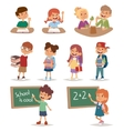 Group school kids going study together childhood vector image vector image