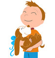 happy boy with a dog vector image vector image