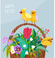 happy easter greeting card with flower basket two vector image