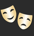 Isolated theater gold cheerful and sad mask vector image vector image
