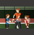 kids in a tennis club with the instructor vector image vector image