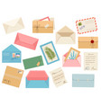 letters cards and envelopes postcard paper mail vector image