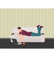 Man lying on the couch sofa and using a laptop vector image vector image