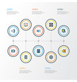 music icons colored line set with charge gallery vector image vector image