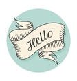 Old vintage ribbon banner with text Hello in vector image