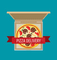 open pizza box flat style design vector image vector image