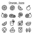 orange icon set in thin line style vector image vector image