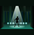 pillar ruined stage with light and man silhouette vector image