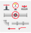 pipelines with connectors and valves vector image