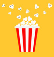 popcorn popping red yellow strip box cinema movie vector image