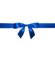 realistic blue bow with horizontal blue ribbons vector image vector image