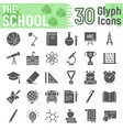 school glyph icon set education symbols vector image