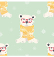 Seamless Merry Christmas pattern with polar bear vector image vector image