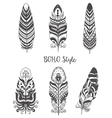 Set of decorative bird feather for boho style vector image