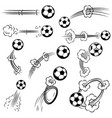 set of football soccer balls with motion trails vector image