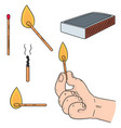 set of matches vector image