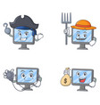 set of monitor character with pirates farmer vector image vector image